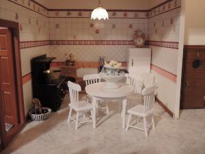 Puppenhaus Küche mit Möbeln Holz Kühlschrank